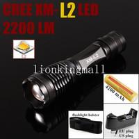 lanterna led usa venda por atacado-EUA UE Hot Sel E007 CREE XM-L2 LED 2200 Lumens Zoom Lanterna Tocha com 1x18650 Bateria + multi-função carregador + coldre
