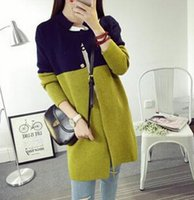Wholesale Thin Cardigan Outfits - In 2015 autumn outfit new temperament collar color matching long women's knit sweater knit cardigan coat