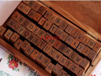 Wholesale wooden numbers letter stamp for sale - Group buy Hot Number Letter Alphabet Wood stamp Set With Wooden Box Uppercase Lowercase Both have sets
