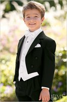 Wholesale Boys Bow Tie Vest - Handsome Boys Formal Occasion Tailcoat Boy Birthday Party Suits Prom Business Suits Boy Flower Girl Dress (Jacket+Pants+Vest+Bow Tie) NO:004