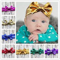 Wholesale Baby Headbands Stretch Elastic - Hot 10color choose baby girl metallic headwear hair bows headband free ship Stretch elastic party take photo hair accessories