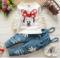 Wholesale Girls Suspenders Shorts - 2016 Spring Autumn Children Clothing 2PCS Sets Girls Mickey Minnie Mouse Tshirts Tops Suspender Pants Set Kids Tee Shirt Trouser D6533