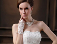 Wholesale Sales Bead - HOT Sale New Arrival Cheap In Stock Bridal Gloves Lace Appliques Beads Fingerless Wrist Length With Ribbon Bridal Gloves Wedding Accessories