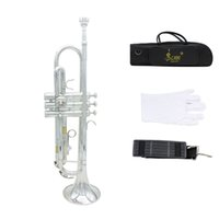 Wholesale B Flat Trumpet - Trumpet Bb B Flat Brass Exquisite with Mouthpiece Gloves Popular Musical Instrument New Arrival I525