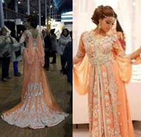 Wholesale Shiny Elegant Dress - Elegant Kaftan Abaya Arabic Evening Dresses 2017 Shiny Robe Caftan Silver Beaded Chiffon Long Formal Gowns Dubai Muslim Dresses BO7444