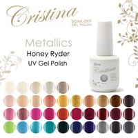 Wholesale Cristina Gel Color - Wholesale-Crislish Gel Polish Metallics You Choose One Color Cristina Gel Nail Polish 15ml 0.5oz Nail Gel Free Shipping