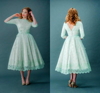 Wholesale Mint Prom Dressed - Mint Green Prom Dresses Lace High Neck Tea Length Half Long Sleeves Bridal Gowns with Covered Button Back Masquerade Party Dresses