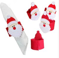Wholesale Wholesale Cloth Table Napkins - Santa Claus Napkin Ring Christmas Decoration Napkin Holder Hotel Wedding Supplies Party Napkin Buckles Table Decoration KKA3340