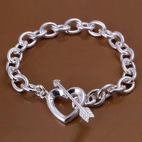Wholesale Nice Crystal - Elegant Silver jewelry 925 Sterling Silver Fashion An Arrow Through Heart Style Bracelet Bangles Jewelry 10pcs lot ,Nice Christmas Gift