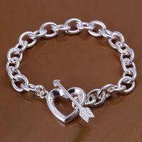 Wholesale Elegant Bracelet 925 - Elegant Silver jewelry 925 Sterling Silver Fashion An Arrow Through Heart Style Bracelet Bangles Jewelry 10pcs lot ,Nice Christmas Gift