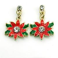 Wholesale red flower earings resale online - Hot Sale Charms Earings Dangles Red Rhinestone Flower Eardrop Fashion Christmas Earrings For Women Jewelry