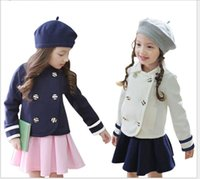 Wholesale Girls Double Breasted Suit Kids - New Hot Sale Navy Style Girls Autumn Double-breasted Jacket Coat+Tutu Skirt 2pcs Sets Kids Outfits Fashion Girl England Clothes Suit