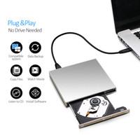 Wholesale Usb Rom Drive - External USB DVD drive DVD-RW CD-RW Burner slim Optical Drive CD DVD ROM player Writer For Windows 7 8 10 MAC OS linux+drive bag