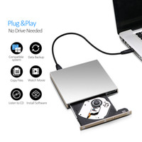dvd harici sürücüler toptan satış-Harici USB DVD sürücü DVD-RW / CD-RW Brülör İnce Optik Sürücü CD DVD ROM oynatıcı Yazar Windows 7/8/10 MAC OS linux + sürücü çantası