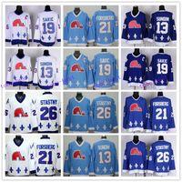 Wholesale Peter Forsberg Jersey - Quebec Nordiques Throwback Hockey Jerseys 13 Mats Sundin 19 Joe Sakic 21 Peter Forsberg 26 Peter Stastny Retro Jersey Blue Wite