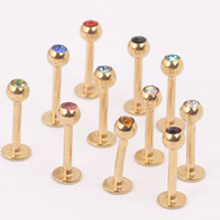 Wholesale Wholesale Body Piercing China - Gold lip stud L04 100pcs lot Stainless Steel China Factory Body Jewelry Lip Labret Ring Custom crystal Lip Rings