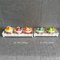 Wholesale white cake stands wholesale - Stable Iron Cupcake Stands White Not Easy To Deform Cupcake Stands Rectangle Hollowed Out Design Cake Racks Sturdy 11 2as B
