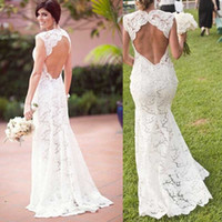 Wholesale Sheath Backless Wedding Dress - 2015 Sexy Backless Wedding Dresses Sheath Open Back Garden Bridal Gowns Beach Wedding Party Sweetheart Neckline Cap Sleeves Custom Made