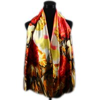 Wholesale floral oil paintings - 1pcs Orange Gold Scarves Satin Peony Oil Painting Long Wrap Shawl Beach Silk Scarf 160X50cm Fashion Accessories
