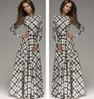 Wholesale Elegant Dress Vintage Casual Evening - 2014 New Arrival winter women maxi dresses vintage full sleeve o-neck plaid elegant Casual evening long Dress plus size FG1511