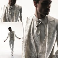 Wholesale One Piece Shawl Lace - New Fashion Trend Custom Made Lace Design Men's Suit Bridal Groom Suits Tuxedo Jacket+Pants+Vest+Bow Tie Handsome Custom Made New