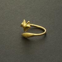 ayarlanabilir hayvan sarma halkaları toptan satış-30 ADET-R023 Altın Gümüş Ayarlanabilir Sevimli Fox Yüzükler Basit 3d Hayvan Tilki Yüz Kuyruk Halka Tiny Twisted Wrap Fox Yüzükler ...