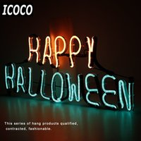 Al por mayor- ICOCO Letrero de neón placa de la luz Feliz Halloween Word Design Night Lamp luz de la pared para Halloween Bar Mural Crafts Room Home Decor