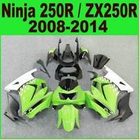zx 14 carenados al por mayor-Moldeo por inyección para el kit de carenado kawasaki Ninja 250R 2008-2014 año ZX250R ZX 250 08-14 EX250 carenados blanco negro conjunto Ft13