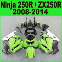 kawasaki ninja zx 14 großhandel-Spritzguss für Kawasaki Ninja 250R Verkleidungssatz 2008-2014 ZX250R ZX 250 08-14 EX250 schwarz grün weiß Verkleidungssatz Ft13