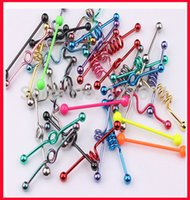 Wholesale Wholesale Industrial Barbells - Wholesale-Free Shipping T01 wholesale 50pcs mix style mix color body piercing jewelry stainless steel fashion tongue industrial barbell