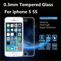 Alta calidad 2.5D 0.3mm LCD Screen Protector de vidrio templado de protección Film protector para Apple iPhone 5 5S 5G con Package