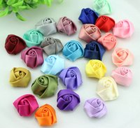 Wholesale Satin Flowers Handmade - set of 200pcs 20-25mm Satin Ribbon handmade Fabric Rosette Rose Flowers assorted colors wholesale