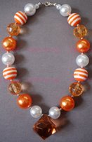 Wholesale Orange Chunky Necklaces - ORANGE DREAMSICLE - Bubblegum Beaded - Little Girl - Orange Necklace - Chunky Necklace - Girl Clothing CB144