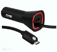 Wholesale micro car amp resale online - 2 AMP Rapid Dual Micro USB Verizon Car Charger For Samsung Galaxy S4 s6 Note HTC LG IPHONE S BLACK