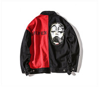 Wholesale clown jacket - Wholesale free shipping Denim Jacket Clown Patchwork Ripped Men's Cowboy Casual High Street Fashion Outwear Pocket Autumn Coat