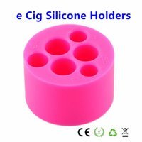 Silicone Stand eGo Holder 6 trous 4 trous pour E cigarette Silicone base titulaire pour eGo-t Q vv batterie E Cig Sucker Mixed Colors disponibles