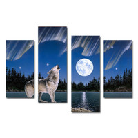 Wholesale Natural Oil Paintings Canvas - 4 Pcs Wild Roaring Wolf Picture Natural Animal Canvas Prints Art Painting for Living Room Bedroom Decoration