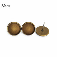 BOYuTe 100Pcs 8MM 10MM 12MM Round Cabochon Brinco Base Bronze Silver Gold Plated Diy Stud Earring Findings