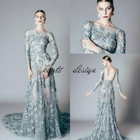 Alfazairy Couture Blassgrün Mermaid Prom Pageant Kleider 2018 Backless Spitze Applique Langarm Abendmode Kleid benutzerdefinierte machen