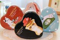 ящики с сердечками в форме сердца оптовых-Бесплатная доставка/New Sen LANCY CAT heart-shaped tin / ящик для хранения / маленький железный корпус / футляр для хранения / жестяная коробка