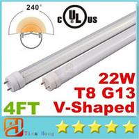 Wholesale V Shaped Led Light Bar - UL V-Shaped Cooler Door Led Tube Lights 4FT T8 G13 28W Dual Row SMD 2835 Led Tubes For refrigerator Lights Warm Cool White AC 85-277V
