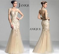 Wholesale Charms Black Light - Janique 2016 Charming Sheer Illusion Long Sleeves Evening Dresses Mermaid Tulle Floor Length Beaded Formal Evening Gowns Mother Dresses
