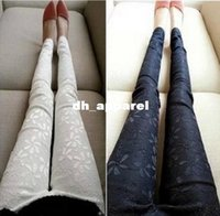 Wholesale EAST KNITTING JU New For Women Lace Embroidery Leggings Black White M L XL Plus Size