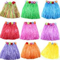 Wholesale Hula Skirt Costume - Wholesale- A96 New Hot 1pc Kinds Hawaiian Hula Grass Skirt Flower Party Dress Beach Dance Costume 2-5Y