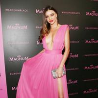 Wholesale Miranda Kerr Pink Chiffon Dress - Festival De Cannes 2015 evening dresses Miranda Kerr pink Plunging Neckline sexy part dresses 4484