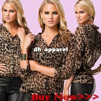 Wholesale Plus Size Womens Leopard Blouse - Fashion Sexy female Chiffon shirts blusas femininas Leopard shirt women blouses 2015 casual womens tops woman clothes plus size