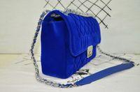 Wholesale Velvet Evening Bags - Fashion jersey flap Chain bag ladies Velvet Tweed classic bag Electric blue ladies evening bag Women crossboy bags shoulder small handbag
