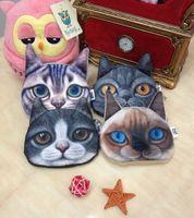 Wholesale Korean Cat Cartoon - Wholesale 20 pcs 3D Printer Cat face coin purse wallet Women handbags Zipper coins pouch child makeup buggy bag Lady pouch key holder