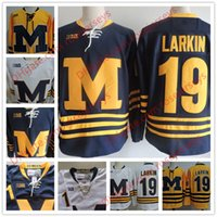 Wholesale College Hockey - Mens Michigan Wolverines #19 Dylan Larkin BIG TEN B1G Jersey cheap NCAA College Hockey Gold White Navy Blue Yellow Jerseys Stiched S-3XL