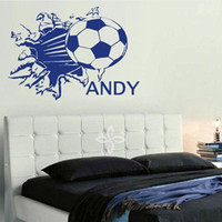 Wholesale Children Canvas Wall - Vinyl Football Sport Wall Decals Wallpaper Personalized Name Kids Wall Stickers Children Room Decor Size 48*60CM Free Shipping